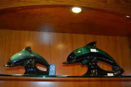 Two Blue Mountain Pottery Dolphins