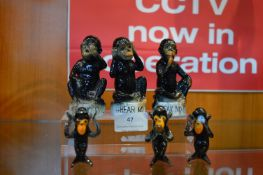 Three Wise Monkeys and Three Glass Monkeys