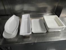 *Ten Assorted White Serving Dishes