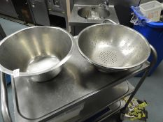 *Stainless Steel Bowl and Two Stainless Steel Colanders