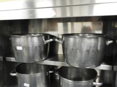 *Two Stainless Steel Twin Handled Pans with Lids 30cm Diameter