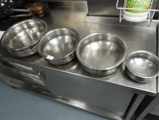 *Set of Four Graduated Stainless Steel Copper Bottomed Balti Pans