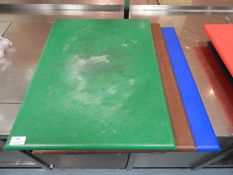 *Three Large Coloured Chopping Boards (Green, Brown and Blue)