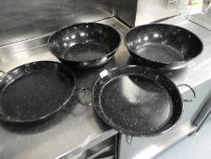 *Two Enamel Bowls and Two Enamel Paella Pans