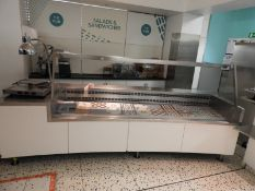 *Curved Stainless Steel Serve Over Refrigerated Counter 340x110cm