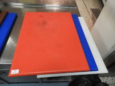 *Three Large Coloured Chopping Boards (Red, White and Blue)