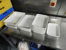 *Eleven Rectangular White Dishes