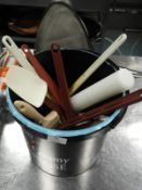 *Bucket of Assorted Kitchen Tools, Spatulas, Stainless Steel Spoons, Polythene Rolling Pin, etc.