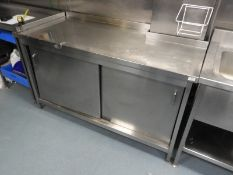 *Stainless Steel Shaped Storage Cupboard with Shelves Enclosed by Sliding Doors