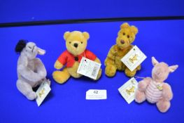 Four Hermann Classic Pooh Disney Figures Pooh, Eeyore, Piglet, and Tigger