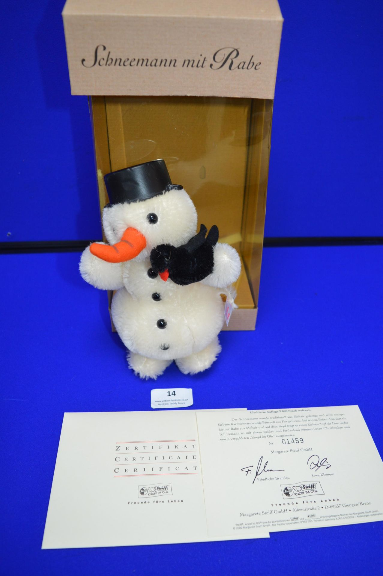 Steiff Snowman with Raven (height 18cm)