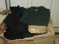 *~20 Mixed Clothing Items; Bottle Green Polo Shirts, Sweatshirts, etc.