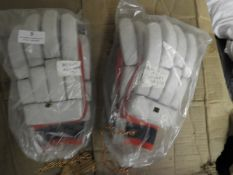 *Two Pairs of Batsman's Leather Gloves (Red & White)