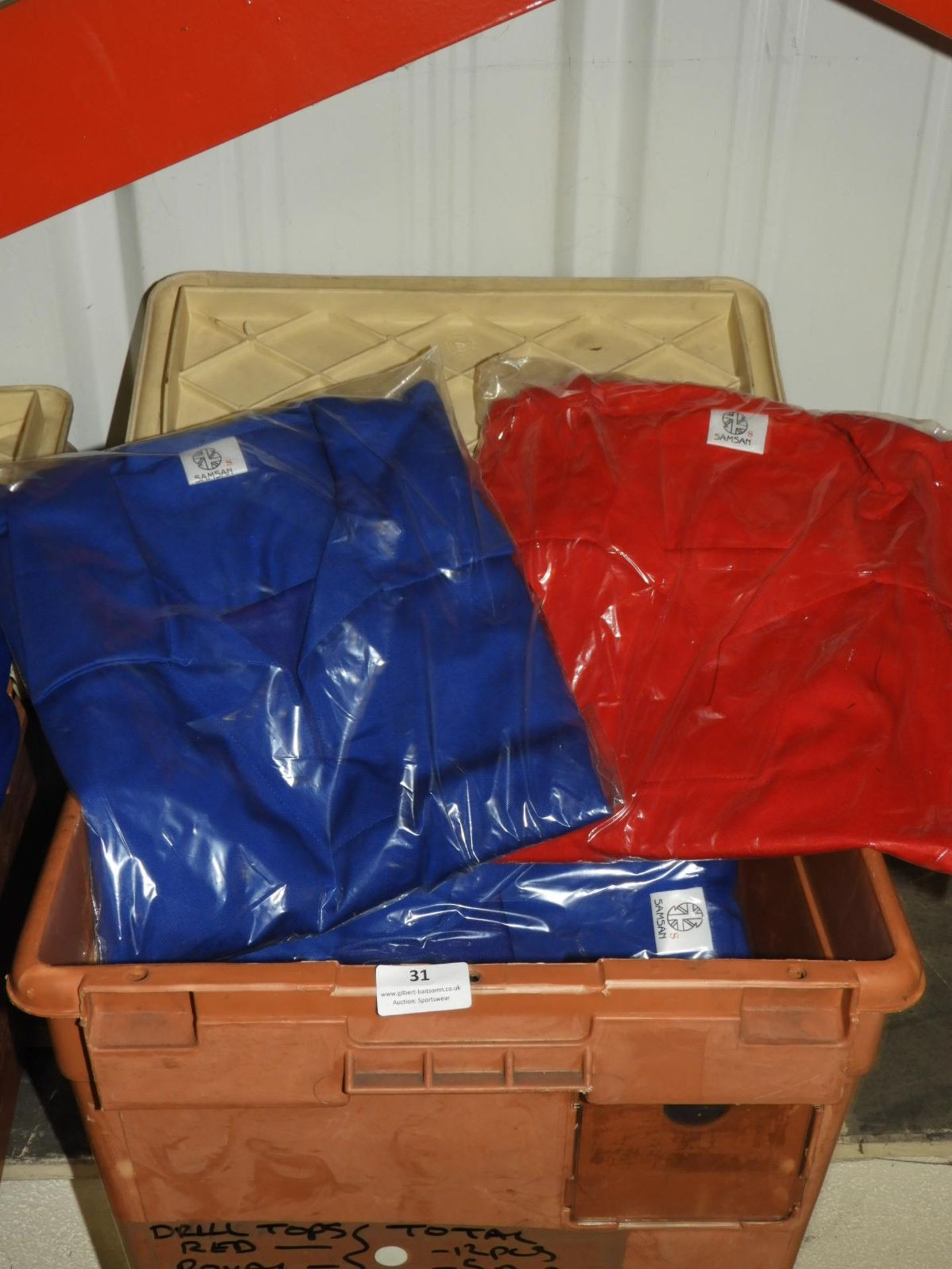 *12 Red and 5 Royal Blue Drill Tops Size: S