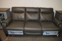 *Grey Leather Three Seat Sofa Power Recliner with