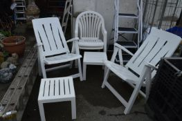 Two Folding and Two Stacking White Garden Chairs,