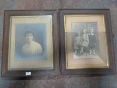 Two Antique Oak Framed Photographs