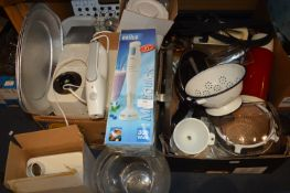 Two Boxes of Kitchenware; Kenwood Food Mixer, Brau