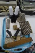 Tray Lot of Collectibles; Microscope, Slide Rules,