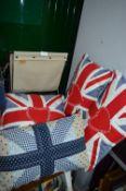 Ferm Newspaper Rack and Four Union Jack Cushions