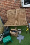 Pair of Basket Weave Garden Chairs, Watering Can,