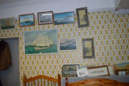 Oil on Board - Marine Scene, and Assorted Pictures