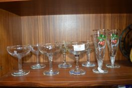 Six Assorted Babycham Glasses and Two Cherry B Gla