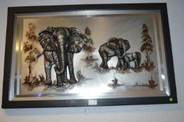 Framed Metallic 3D Picture of Elephants