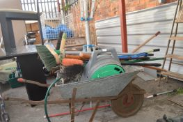 Garden Wheelbarrow and Contents of Tools, Hose Ree