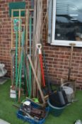 Bundle of Garden Tools, Bamboo Canes, Trellis, Wat