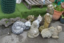 Nine Garden Ornaments; Foxes, Sheep, Dragons, Owl,