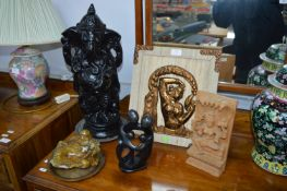 Indian Carvings of Ganesh, and an Agate Reclining