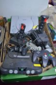 Play Station, Nintendo 64 plus Controllers, etc.