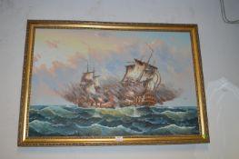 Gilt Framed Oil on Canvas - Naval Battle