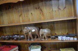 Carved Elephants, Hippos, Rhinos and Spoons