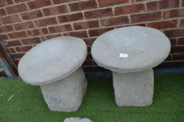 Pair of Toadstool Garden Ornaments