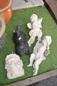 Four Garden Ornaments; Cherubs, etc.