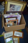 Box of Framed Pictures and Print