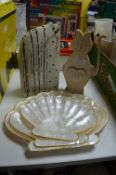 Cat Ornaments and Shell Serving Dishes