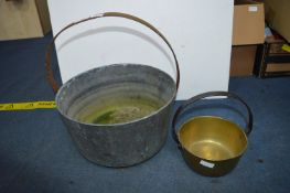 Large and Small Victorian Brass Jam Pans