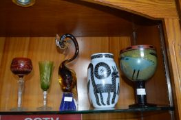 Four Coloured Glass Items; Large Goblet by Kosta B