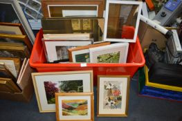 Large Tub of Framed Pictures and Prints