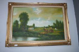 Gilt Framed Oil on Canvas - Country Scene