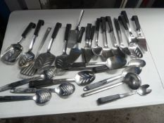 * selection of slotted spoons, spoons, fish slices, ladles x approx. 20