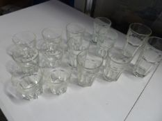 * various sized 'rocks' style glasses x approx. 15