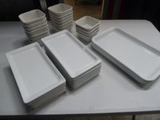 * rectangle plates and bowls - 3 large rectangle plates, 13 medium rectangle plates, 18 small square