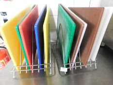 * S/S chopping boards racks x 2 - complete with 10+ boards