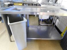 * S/S bench with undershelf and cut out for waste bin (right hand side) complete with end panels