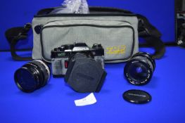 Olympus OM40 Program SLR Camera with Lenses and Carry Case
