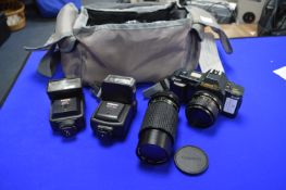 Canon T70 SLR Camera with Case, Lenses and Flash